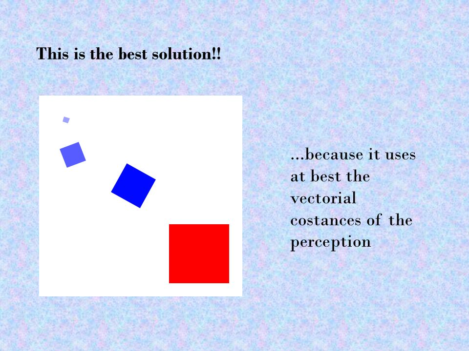 This is the best solution!!...because it uses at best the vectorial costances of the perception