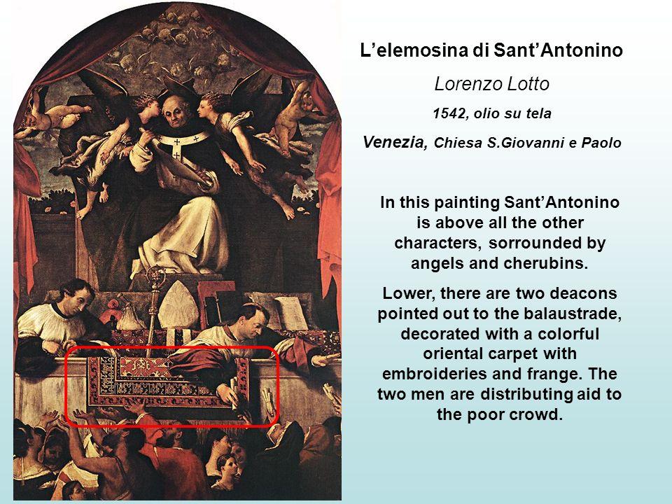 Pala di Santo Spirito Lorenzo Lotto 1521, olio su tela Bergamo, Chiesa S.Spirito This altar-piece represents an holy conversation among The Virgin and the saints (from left to right): S.Caterina, S.Agostino, S.Sebastiano e Antonio Abate.
