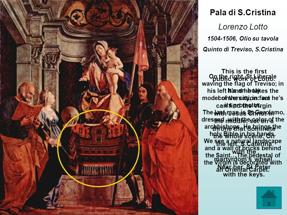 Pala di Castelfranco Giorgione 1502, olio su tavola Catelfranco Veneto, duomo This canvas has been entrusted to Giorgione by Tuzio Costanzo (theres the blazon of the family painted on the pedestal of the throne).
