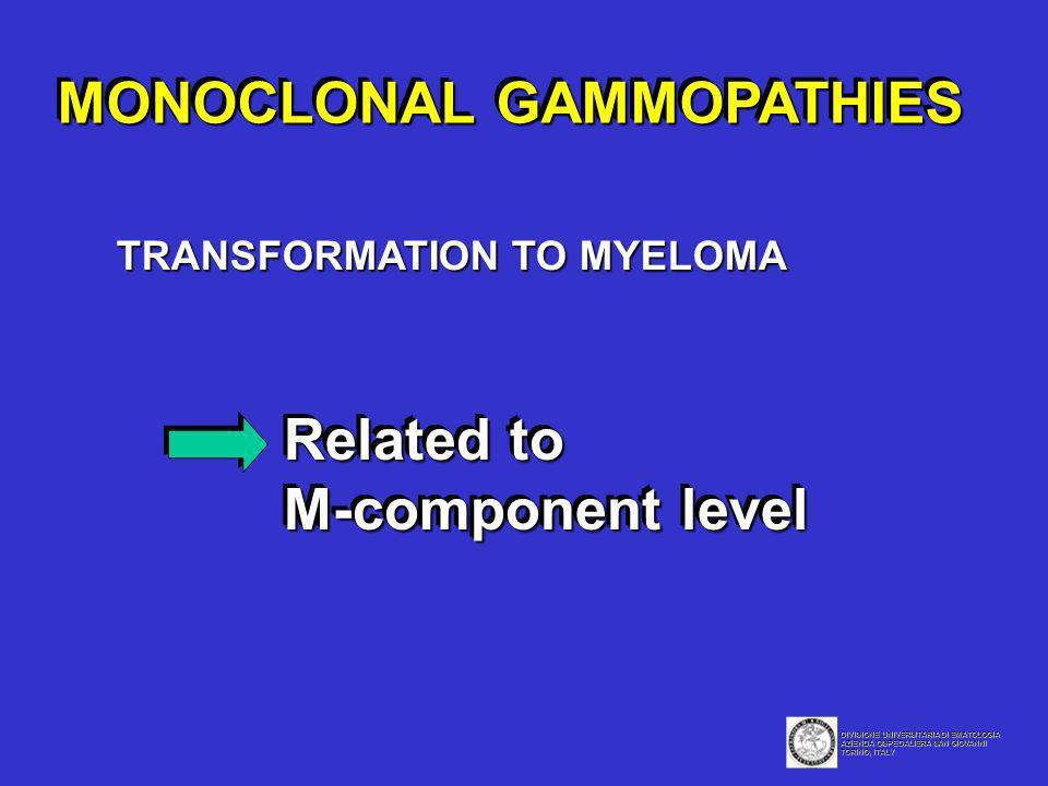 MONOCLONAL GAMMOPATHIES Related to M-component level Related to M-component level DIVISIONE UNIVERSITARIA DI EMATOLOGIA AZIENDA OSPEDALIERA SAN GIOVAN