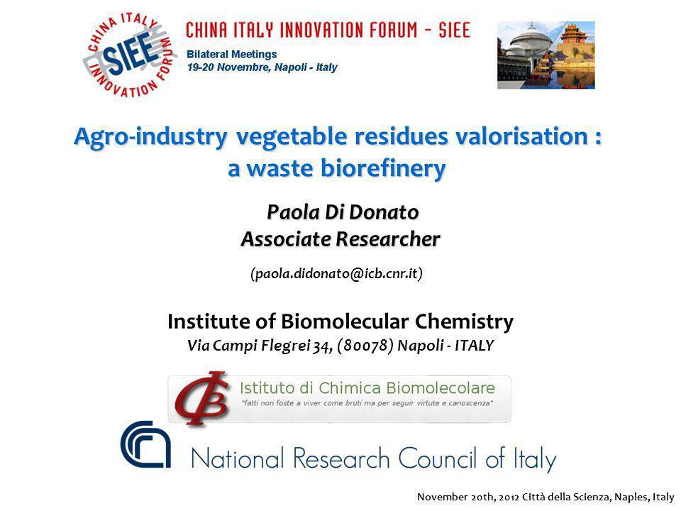 Paola Di Donato Paola Di Donato Associate Researcher Agro-industry vegetable residues valorisation : a waste biorefinery (paola.didonato@icb.cnr.it) I