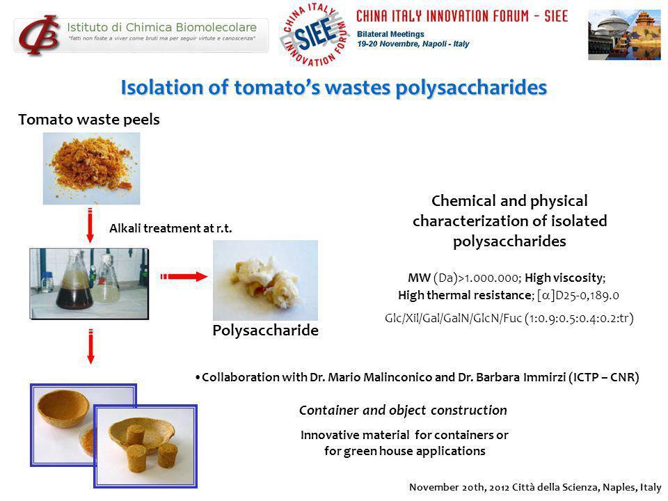 Isolation of tomatos wastes polysaccharides Tomato waste peels November 20th, 2012 Città della Scienza, Naples, Italy Alkali treatment at r.t. Polysac