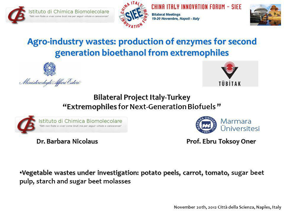 Agro-industry wastes: production of enzymes for second generation bioethanol from extremophiles Vegetable wastes under investigation: potato peels, ca