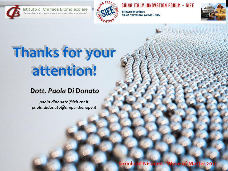 Thanks for your attention! Dott. Paola Di Donato paola.didonato@icb.cnr.it paola.didonato@uniparthenope.it Grönlund-Nisunen - Wave of Matter 2012