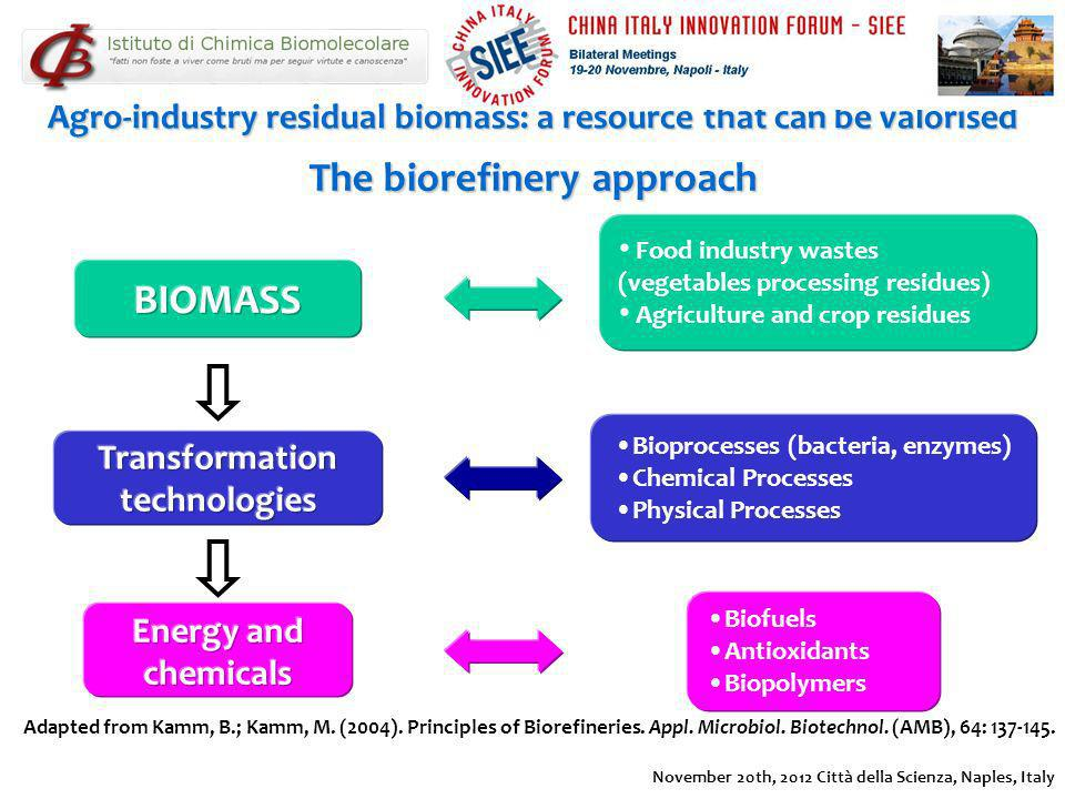 The biorefinery approach Adapted from Kamm, B.; Kamm, M. (2004). Principles of Biorefineries. Appl. Microbiol. Biotechnol. (AMB), 64: 137-145. Food in