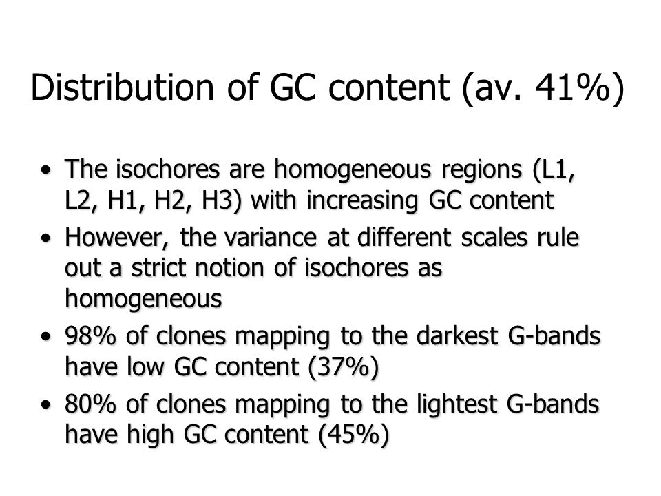 Distribution of GC content (av. 41%) The isochores are homogeneous regions (L1, L2, H1, H2, H3) with increasing GC contentThe isochores are homogeneou