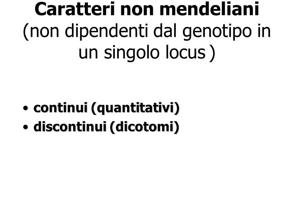 Caratteri non mendeliani (non dipendenti dal genotipo in un singolo locus ) continui (quantitativi)continui (quantitativi) discontinui (dicotomi)disco