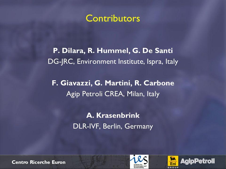 $+ Centro Ricerche Euron Contributors P. Dilara, R. Hummel, G. De Santi DG-JRC, Environment Institute, Ispra, Italy F. Giavazzi, G. Martini, R. Carbon