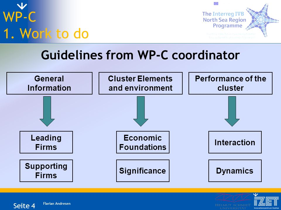 Florian Andresen Seite 4 WP-C 1. Work to do Guidelines from WP-C coordinator General Information Cluster Elements and environment Leading Firms Perfor