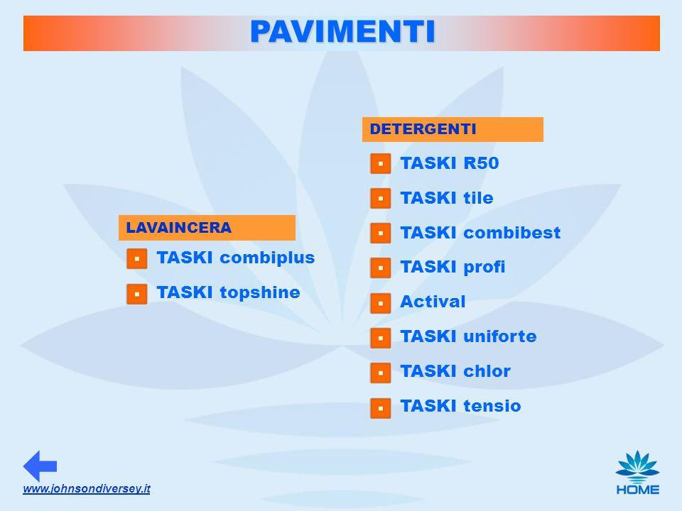 www.johnsondiversey.it DETERGENTI PAVIMENTI TASKI R50 TASKI tile TASKI combibest TASKI profi Actival TASKI uniforte TASKI chlor TASKI tensio LAVAINCER