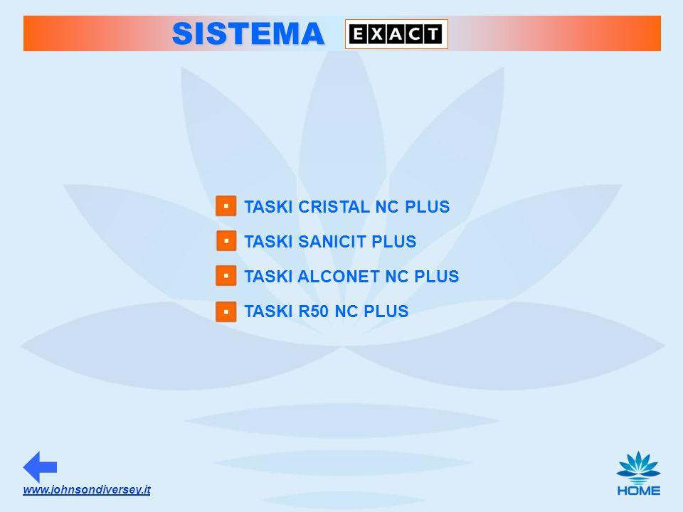 www.johnsondiversey.it SISTEMA TASKI CRISTAL NC PLUS TASKI SANICIT PLUS TASKI ALCONET NC PLUS TASKI R50 NC PLUS