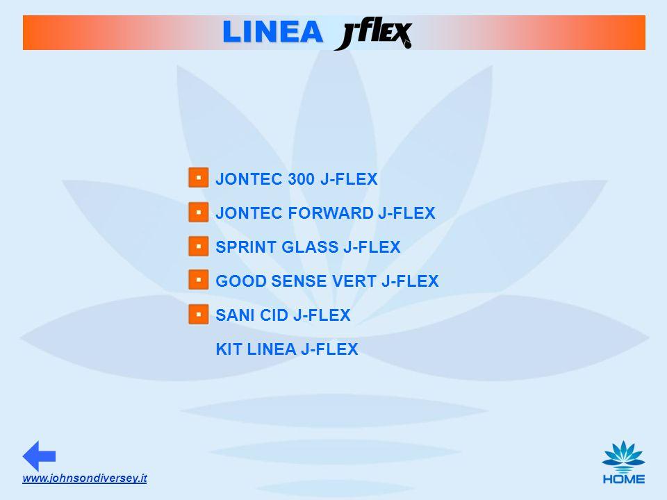 www.johnsondiversey.it LINEA JONTEC 300 J-FLEX JONTEC FORWARD J-FLEX SPRINT GLASS J-FLEX GOOD SENSE VERT J-FLEX SANI CID J-FLEX KIT LINEA J-FLEX
