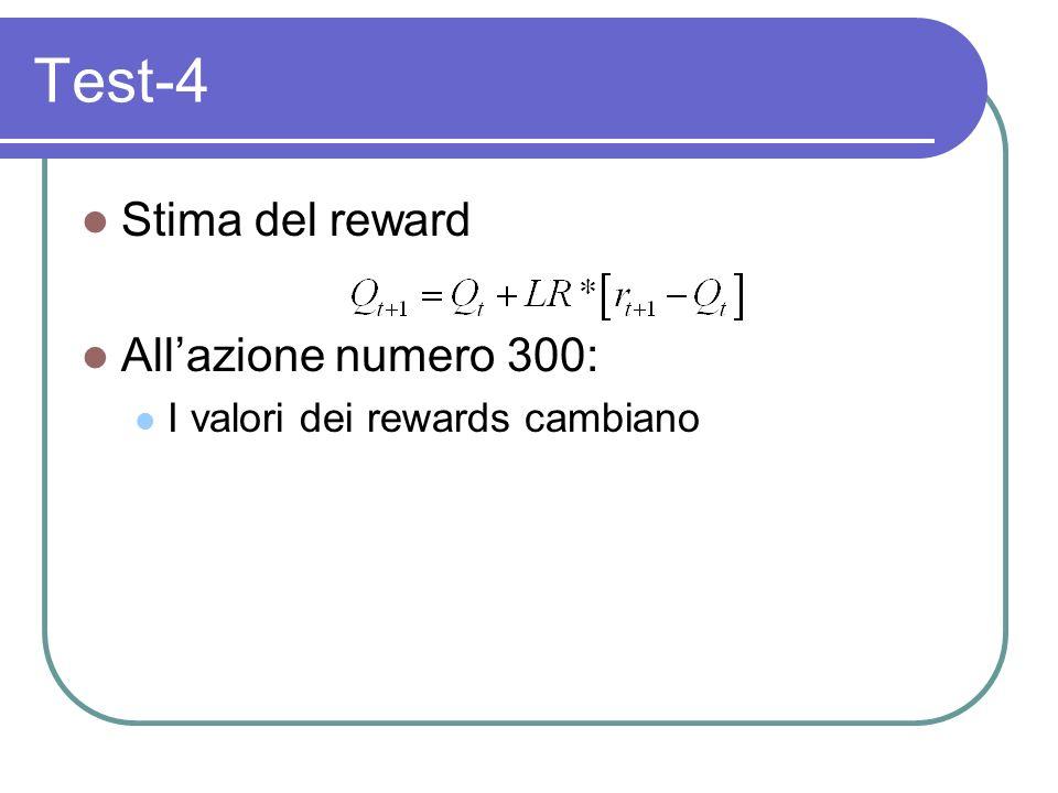 Test-4 Stima del reward Allazione numero 300: I valori dei rewards cambiano