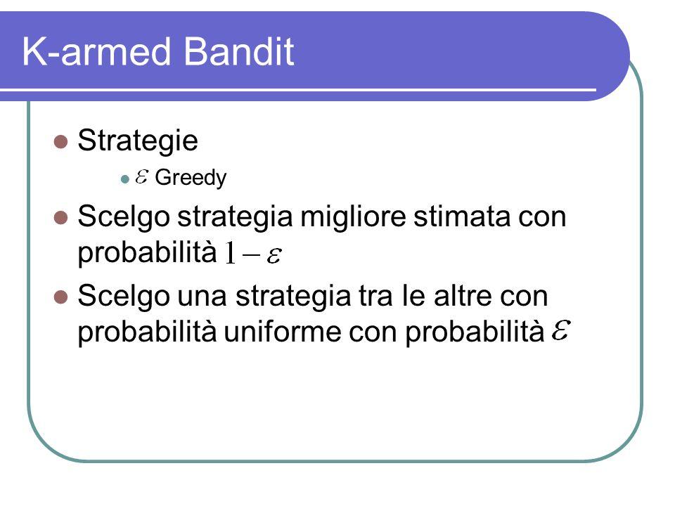 K-armed Bandit Strategie Greedy Scelgo strategia migliore stimata con probabilità Scelgo una strategia tra le altre con probabilità uniforme con probabilità