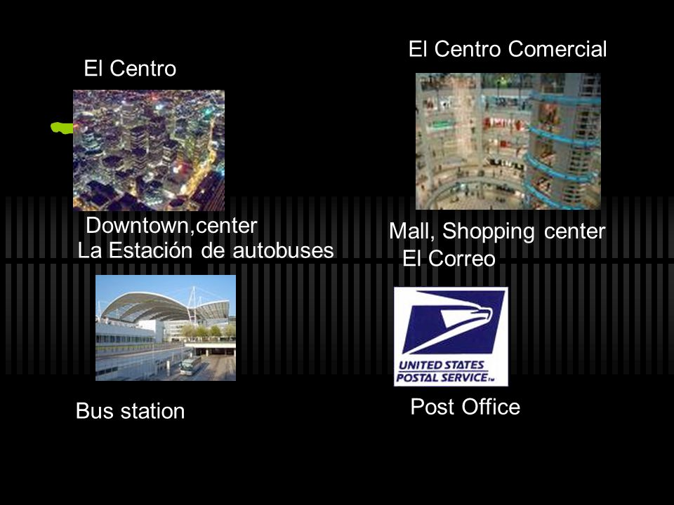 El Centro El Centro Comercial El Correo La Estación de autobuses Downtown,center Bus station Post Office Mall, Shopping center