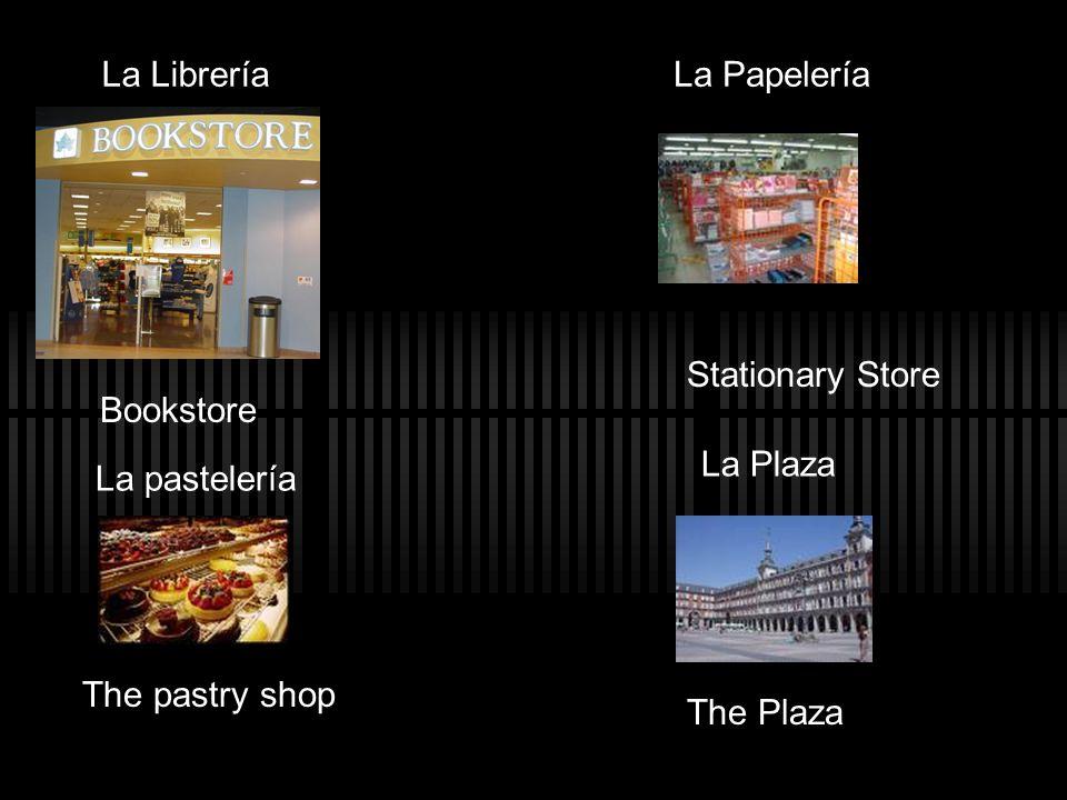 La Librería Bookstore La Papelería Stationary Store La pastelería The pastry shop La Plaza The Plaza