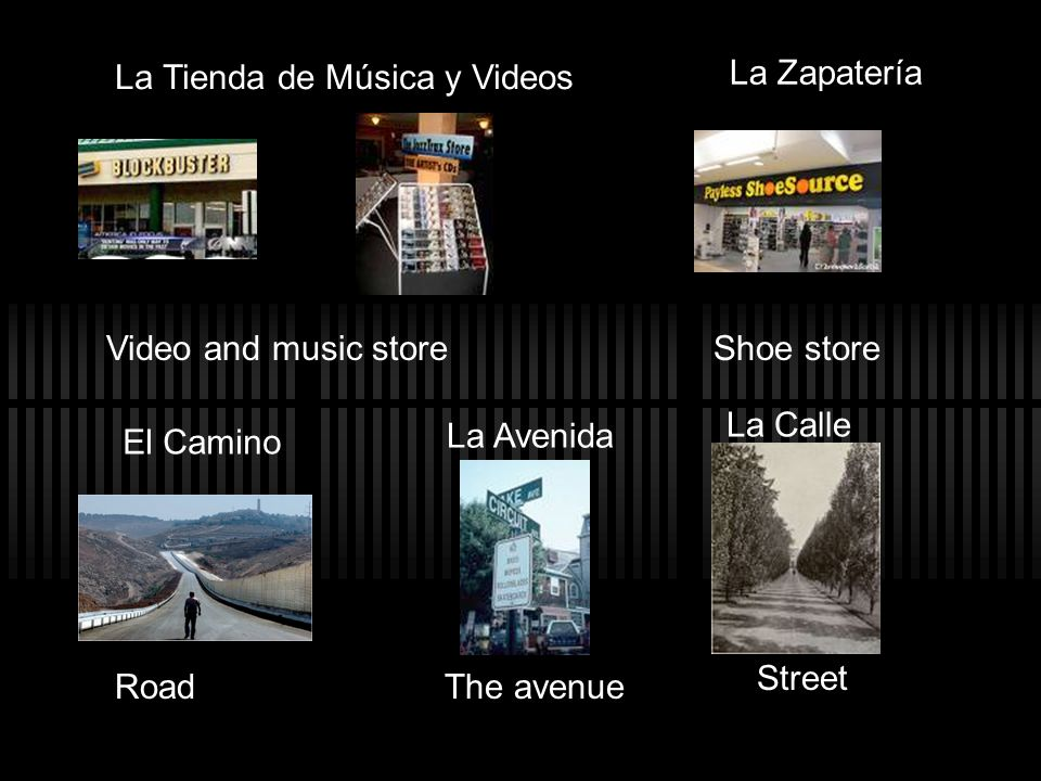 La Tienda de Música y Videos Video and music store La Zapatería Shoe store El Camino Road La Avenida The avenue La Calle Street