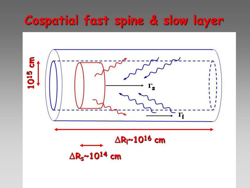 Cospatial fast spine & slow layer R l ~10 16 cm R l ~10 16 cm R s ~10 14 cm R s ~10 14 cm 10 15 cm