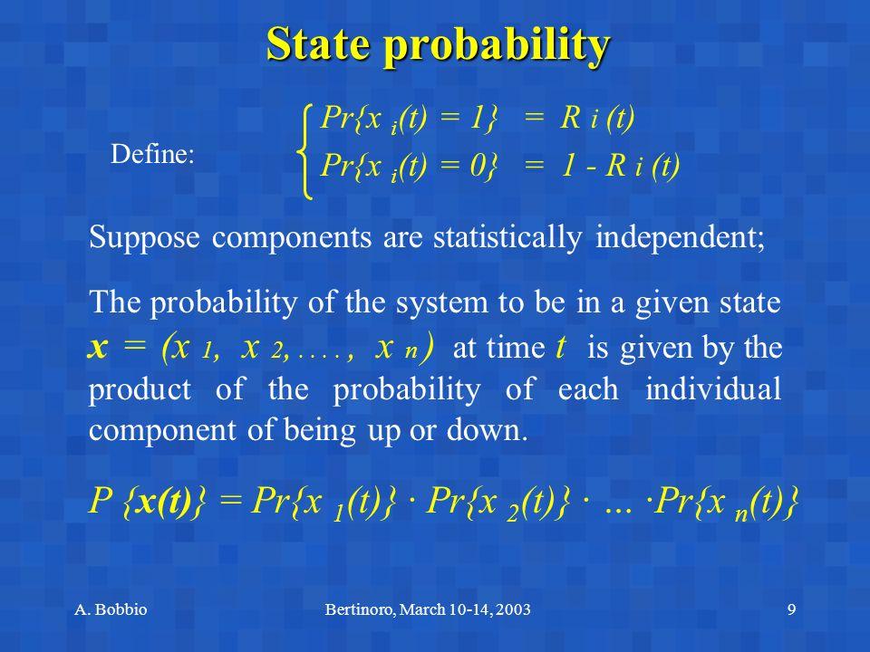 A. BobbioBertinoro, March 10-14, 20039 State probability Define: Pr{x i (t) = 1} = R i (t) Pr{x i (t) = 0} = 1 - R i (t) Suppose components are statis