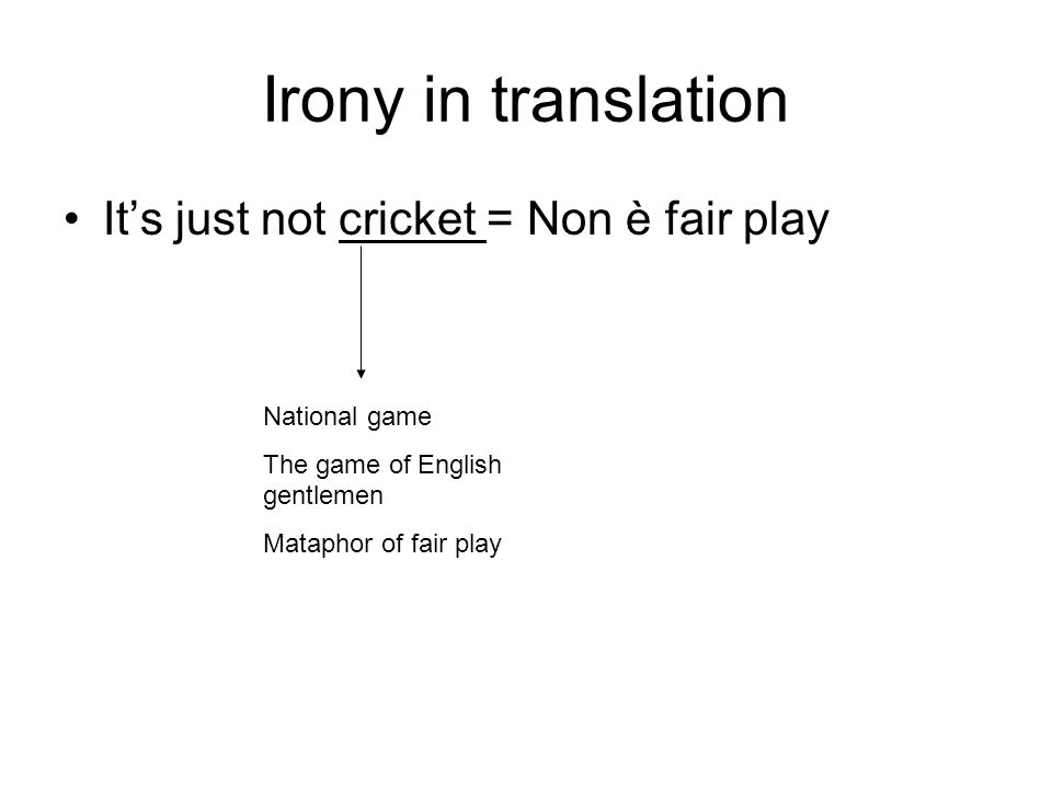 Irony in translation Its just not cricket = Non è fair play National game The game of English gentlemen Mataphor of fair play