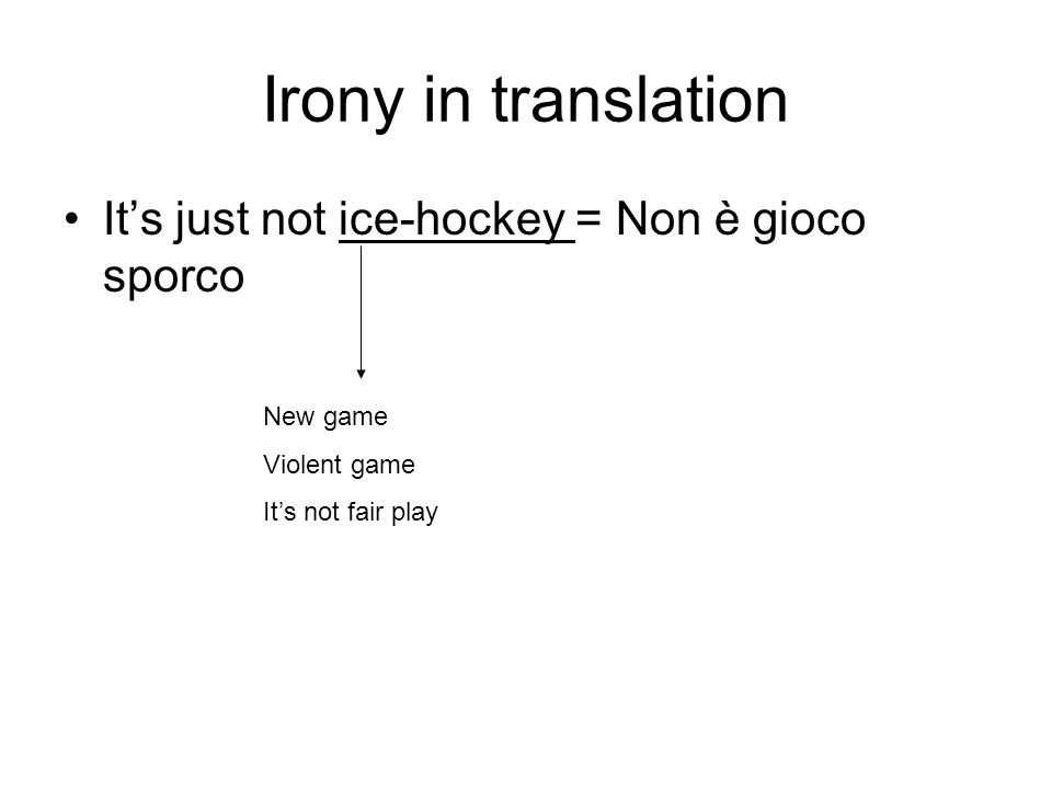 Irony in translation Its just not ice-hockey = Non è gioco sporco New game Violent game Its not fair play