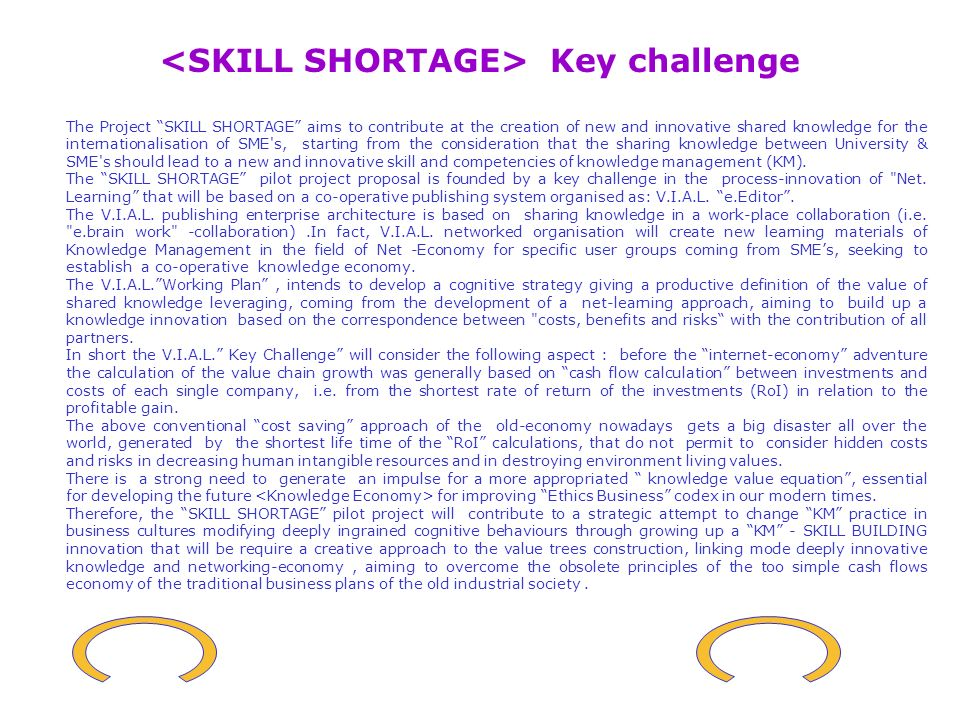 SHILL SHORTAGE Virtual International Advanced Laboratory e.Editor demonstration project organisation - Inducator for knowledge sharing strategy V.I.A.L.