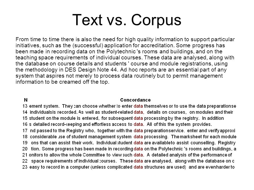 Text vs. Corpus From time to time there is also the need for high quality information to support particular initiatives, such as the (successful) appl