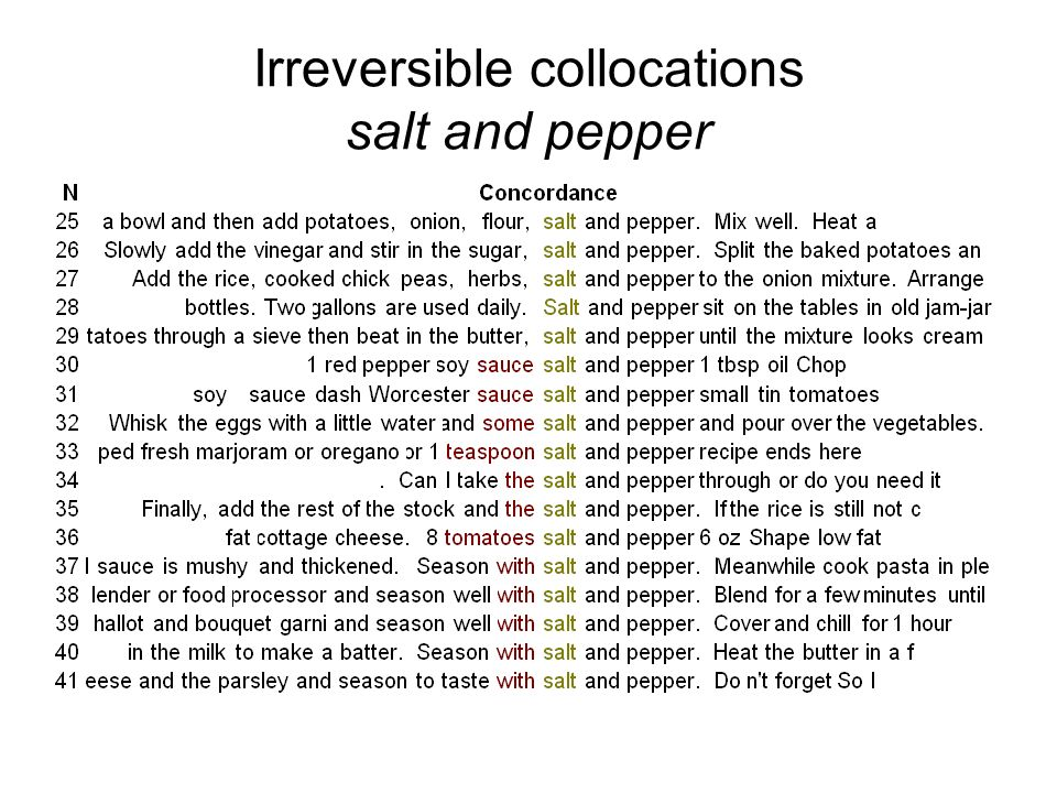 Irreversible collocations salt and pepper