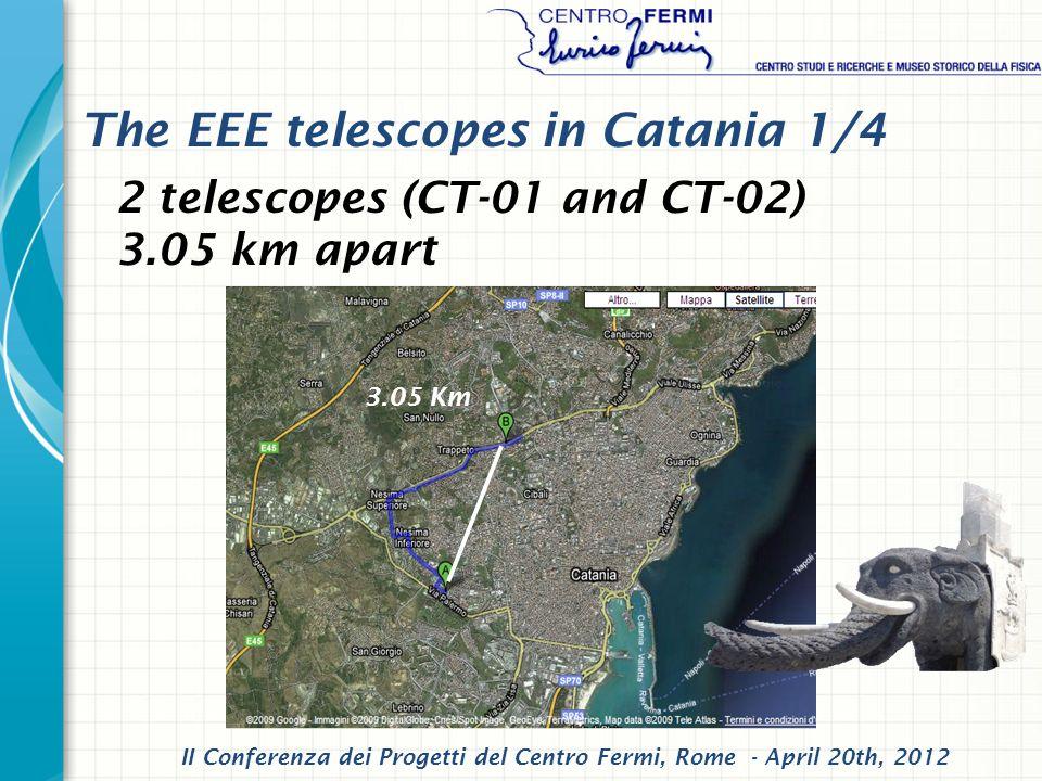 II Conferenza dei Progetti del Centro Fermi, Rome - April 20th, 2012 3.05 Km The EEE telescopes in Catania 1/4 2 telescopes (CT-01 and CT-02) 3.05 km apart