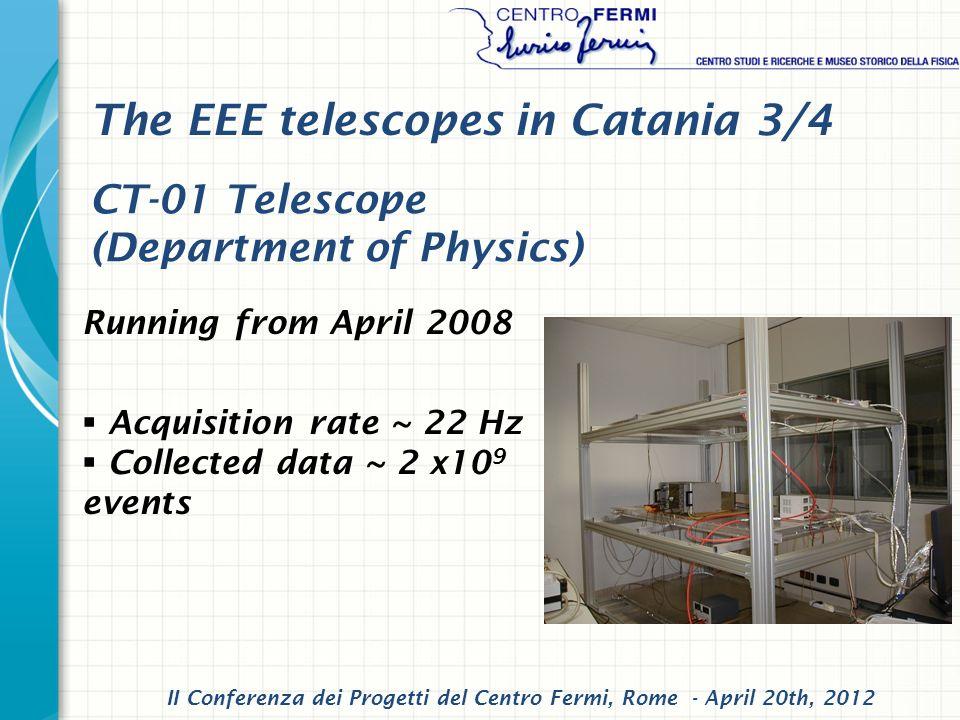 Running from April 2008 Acquisition rate ~ 22 Hz Collected data ~ 2 x10 9 events CT-01 Telescope (Department of Physics) II Conferenza dei Progetti del Centro Fermi, Rome - April 20th, 2012 The EEE telescopes in Catania 3/4