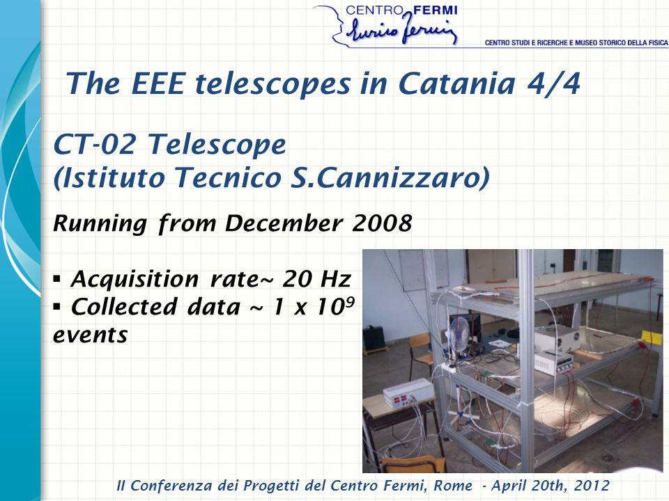 CT-02 Telescope (Istituto Tecnico S.Cannizzaro) Running from December 2008 Acquisition rate~ 20 Hz Collected data ~ 1 x 10 9 events II Conferenza dei Progetti del Centro Fermi, Rome - April 20th, 2012 The EEE telescopes in Catania 4/4