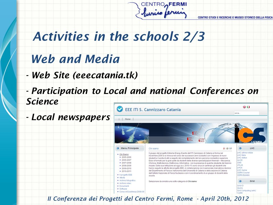- Web Site (eeecatania.tk) - Participation to Local and national Conferences on Science - Local newspapers Web and Media II Conferenza dei Progetti del Centro Fermi, Rome - April 20th, 2012 Activities in the schools 2/3