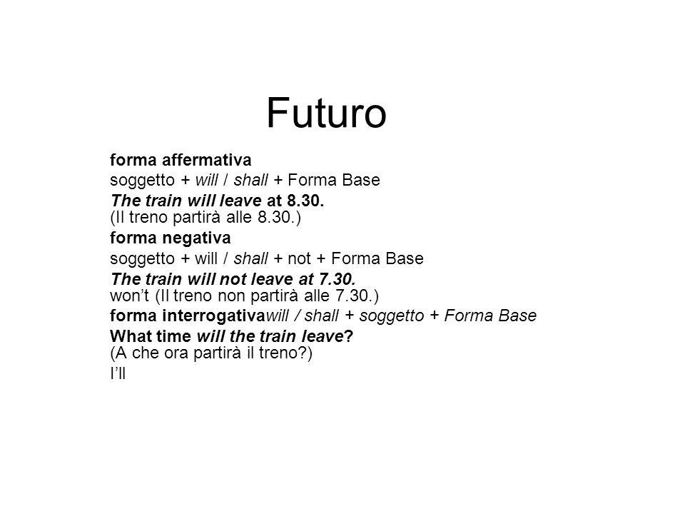 Futuro forma affermativa soggetto + will / shall + Forma Base The train will leave at 8.30.