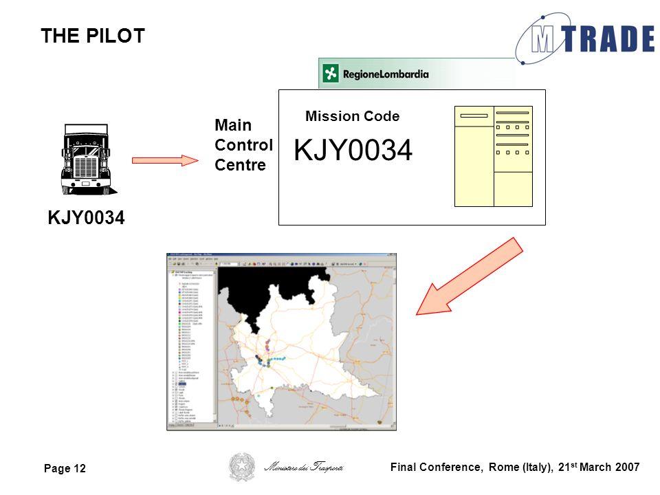 Ministero dei Trasporti Page 12 Final Conference, Rome (Italy), 21 st March 2007 THE PILOT KJY0034 Main Control Centre Mission Code KJY0034