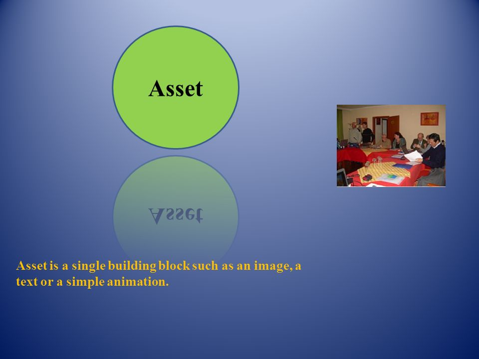 Asset is a single building block such as an image, a text or a simple animation.