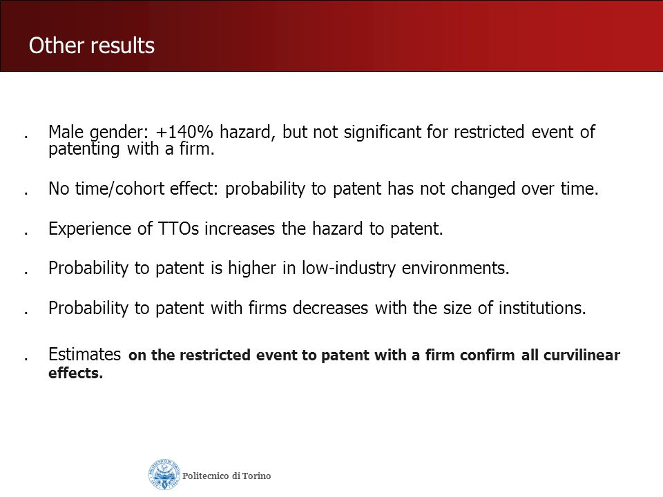 Other results.Male gender: +140% hazard, but not significant for restricted event of patenting with a firm..No time/cohort effect: probability to pate