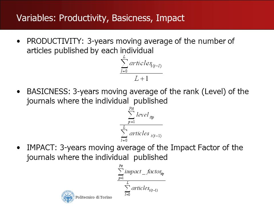 PRODUCTIVITY: 3-years moving average of the number of articles published by each individual Politecnico di Torino
