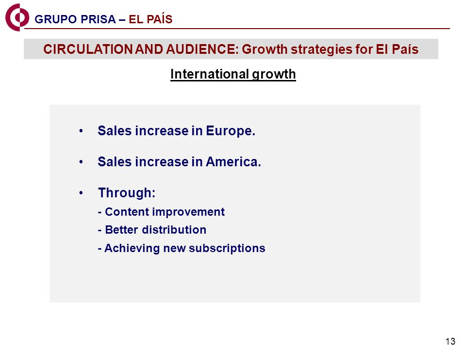 13 Sales increase in Europe.Sales increase in America.