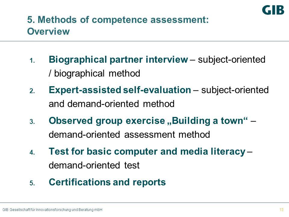 GIB Gesellschaft für Innovationsforschung und Beratung mbH 5. Methods of competence assessment: Overview 1. Biographical partner interview – subject-o