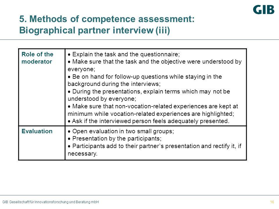 GIB Gesellschaft für Innovationsforschung und Beratung mbH 5. Methods of competence assessment: Biographical partner interview (iii) Role of the moder