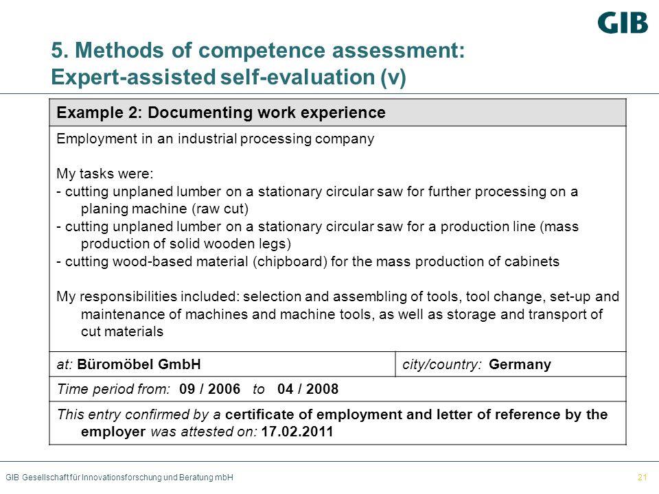 GIB Gesellschaft für Innovationsforschung und Beratung mbH 5. Methods of competence assessment: Expert-assisted self-evaluation (v) Example 2: Documen