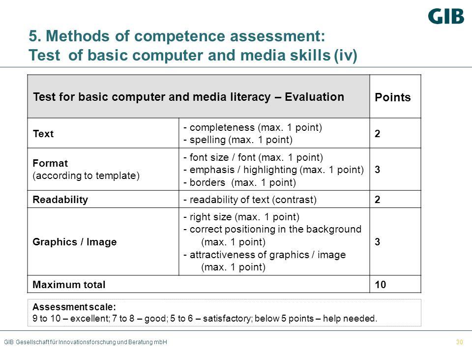 GIB Gesellschaft für Innovationsforschung und Beratung mbH 5. Methods of competence assessment: Test of basic computer and media skills (iv) Test for