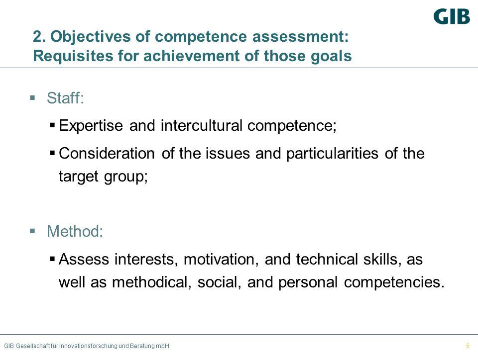 GIB Gesellschaft für Innovationsforschung und Beratung mbH 2. Objectives of competence assessment: Requisites for achievement of those goals Staff: Ex