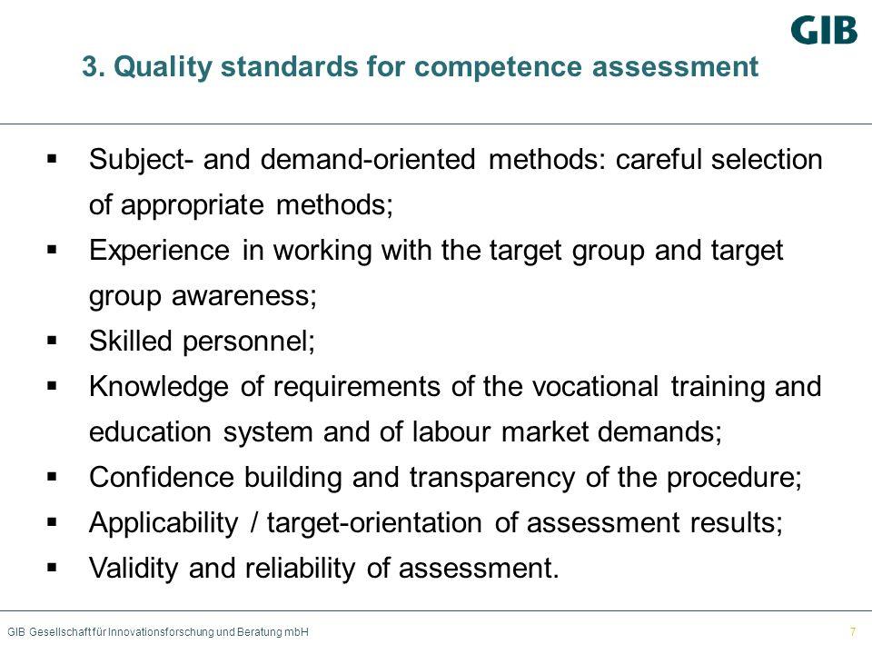 GIB Gesellschaft für Innovationsforschung und Beratung mbH 3. Quality standards for competence assessment Subject- and demand-oriented methods: carefu