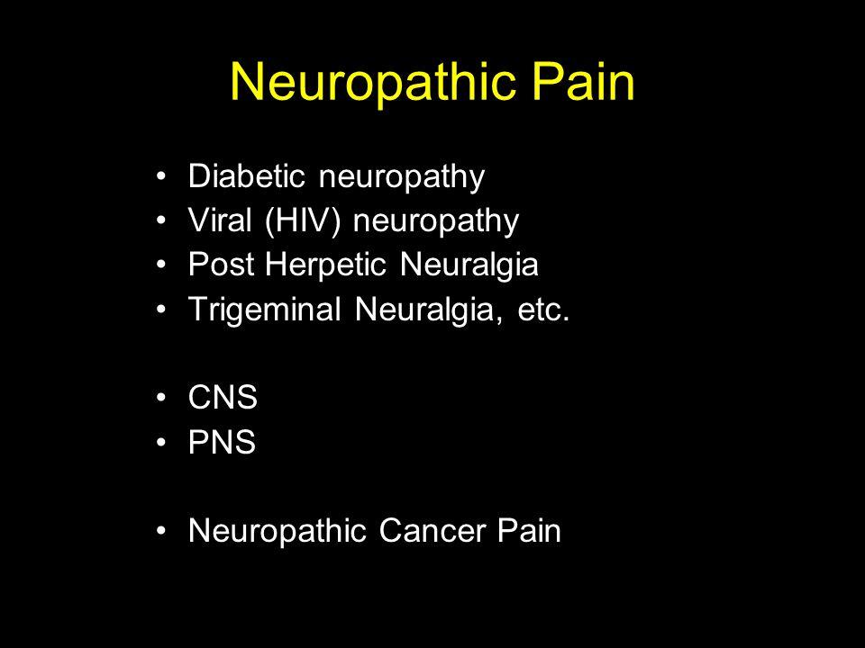 Neuropathic Pain Diabetic neuropathy Viral (HIV) neuropathy Post Herpetic Neuralgia Trigeminal Neuralgia, etc. CNS PNS Neuropathic Cancer Pain