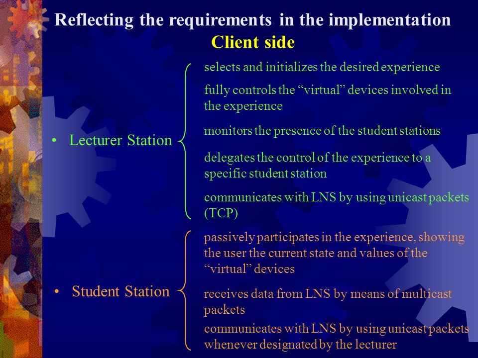 Reflecting the requirements in the implementation Client side Lecturer Station fully controls the virtual devices involved in the experience monitors the presence of the student stations delegates the control of the experience to a specific student station selects and initializes the desired experience Student Station communicates with LNS by using unicast packets (TCP) passively participates in the experience, showing the user the current state and values of the virtual devices receives data from LNS by means of multicast packets communicates with LNS by using unicast packets whenever designated by the lecturer