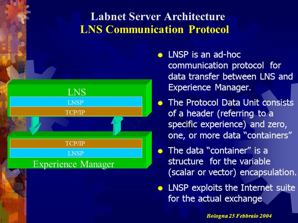 LNS Communication Protocol LNSP is an ad-hoc communication protocol for data transfer between LNS and Experience Manager.