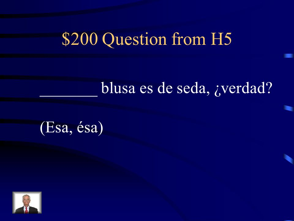 $100 Answer from H5 UNO: when using the indef. masc. sing. article as a noun, un becomes uno.