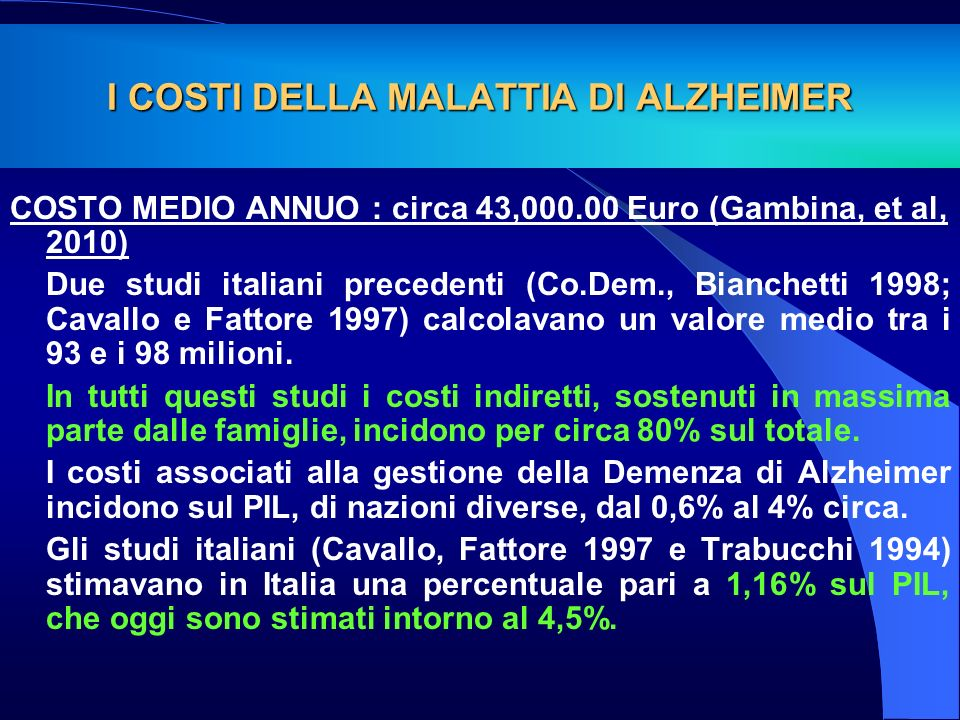 I COSTI DELLA MALATTIA DI ALZHEIMER COSTO MEDIO ANNUO : circa 43,000.00 Euro (Gambina, et al, 2010) Due studi italiani precedenti (Co.Dem., Bianchetti
