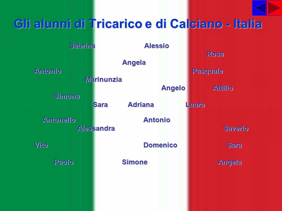 Gli alunni di Tricarico e di Calciano - Italia Sabrina Alessio Sabrina Alessio Rosa Rosa Angela Angela Antonio Pasquale Antonio Pasquale Marinunzia Ma